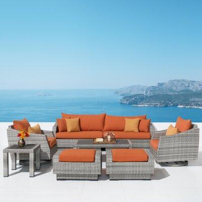 Wade Logan Rattan Sunbrella Sofa Seating Group Cushions Fabric Seating Groups