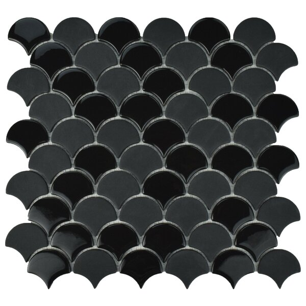 Esamo Scallop 1.74 x 1.88 Glass Mosaic Tile in Black by EliteTile