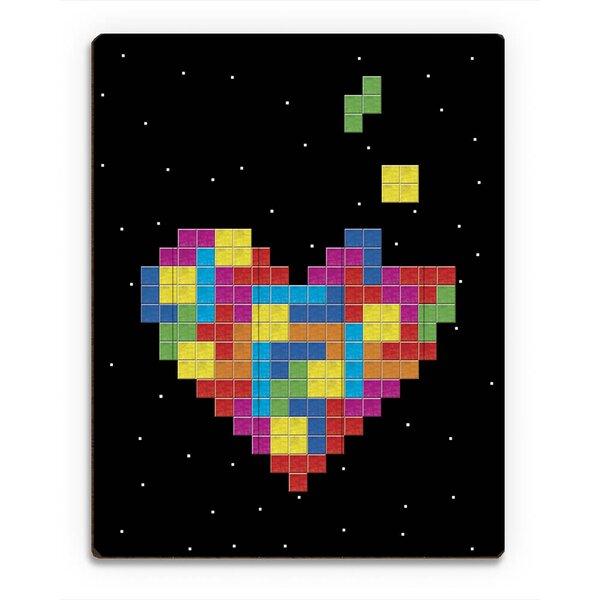 Wood Slats Dark Tetris Heart Graphic Art on Plaque by Click Wall Art