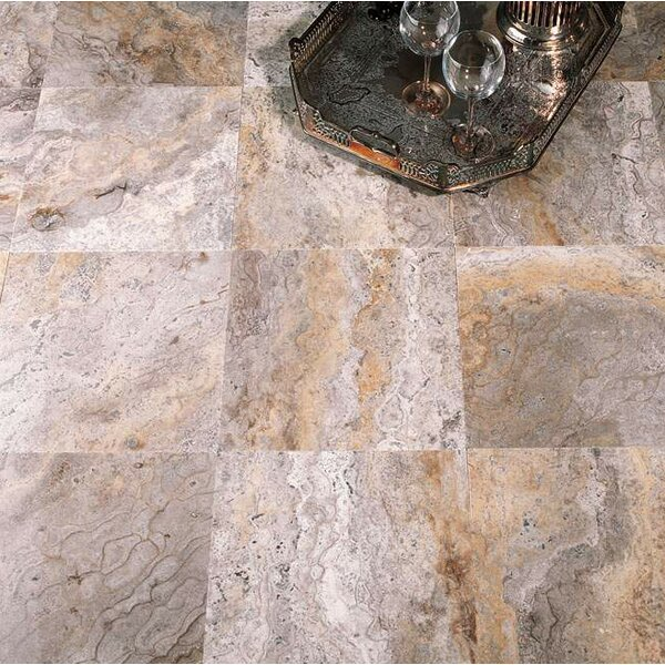 8 x 8 Travertine Field Tile in Ariete Black by Ephesus Stones