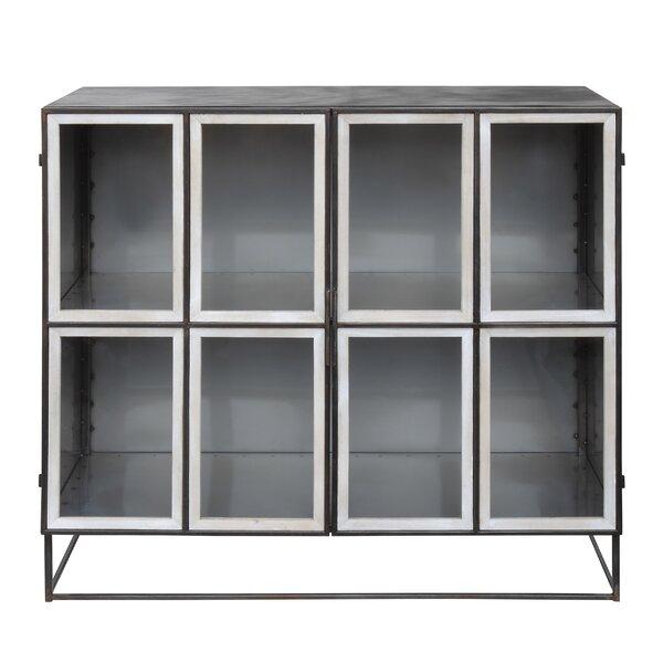 Dexheart Distressed Metal 2 Door Accent Cabinet