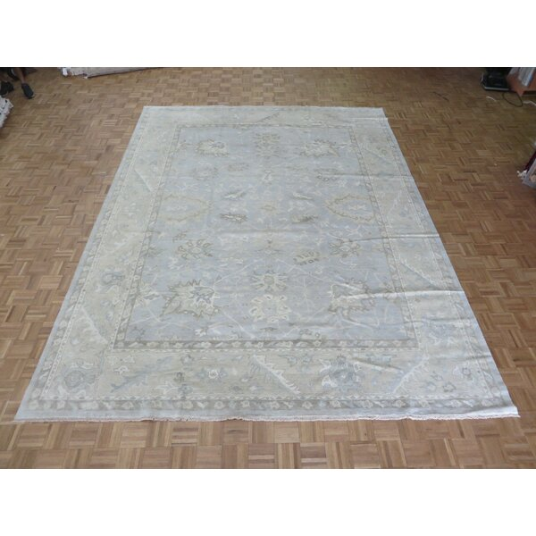 One-of-a-Kind Pellegrino Turkish Oushak Hand-Knotted Wool Sky Blue Area Rug by Bloomsbury Market