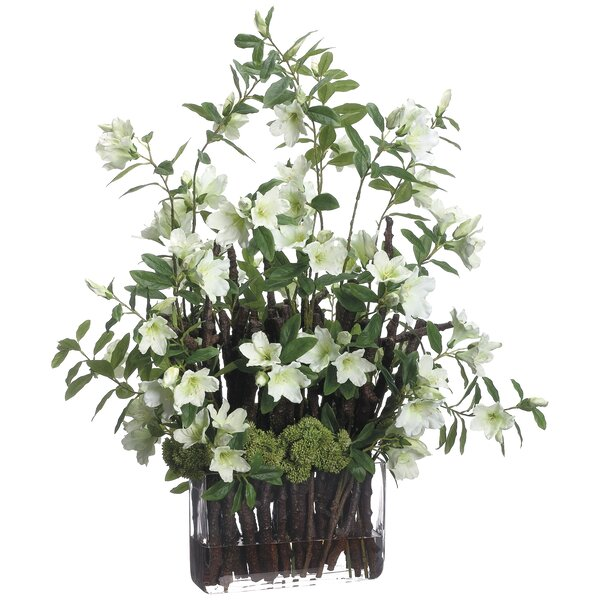 Azalea/Branches Mixed Floral Arrangement in Glass Vase by Canora Grey