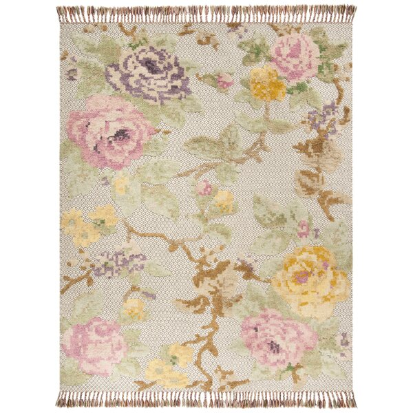 Bertha Hand Tufted Wool Pink/Green Area Rug by August Grove