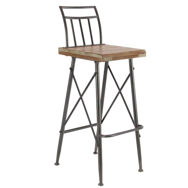 Brookview Modern Distressed Square Bar Stool by Gracie Oaks