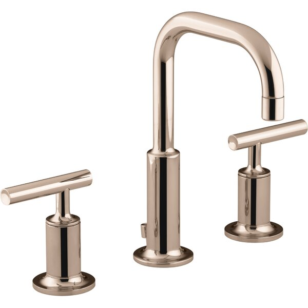 Kohler Purist Widespread Bathroom Sink Faucet With Low Lever Handles And Low Gooseneck Spout By Kohler