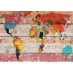 World Map Painting Print on Wrapped Canvas by World Menagerie
