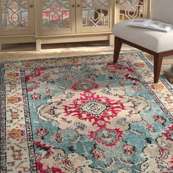 Annabel Light Blue/Fuchsia Area Rug by Bungalow Rose