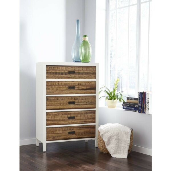 Bowlin Plank Wood 5 Drawers Chest by Foundry Select