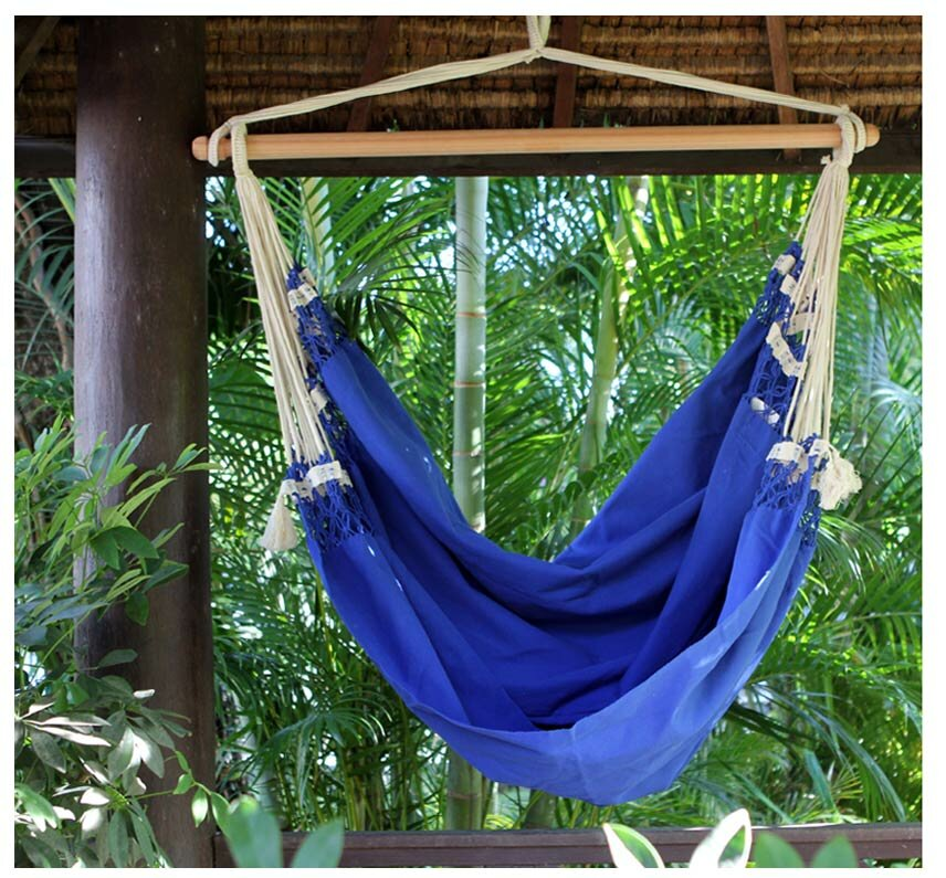 Single Person Fair Trade Cozy Copacabanau0027 Hand Woven Brazilian Cotton  Swinging Chair Hammock