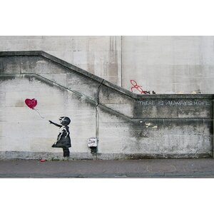'There Is Always Hope Balloon Girl' by Banksy Graphic Art Print on Wrapped Canvas by Latitude Run