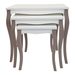Red Barrel Studio 3 Pcs Nesting Table, Cappucino, Cream by Red Barrel Studio SKU:EC144399 Price Compare
