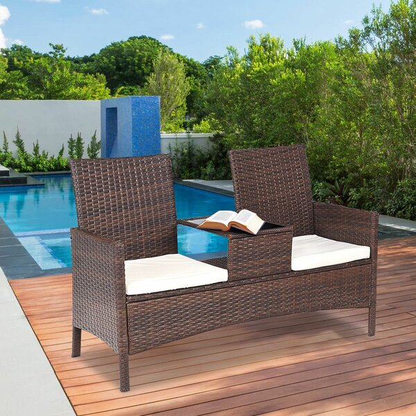 Robison Patio Rattan 3 Piece Seating Group with Cu