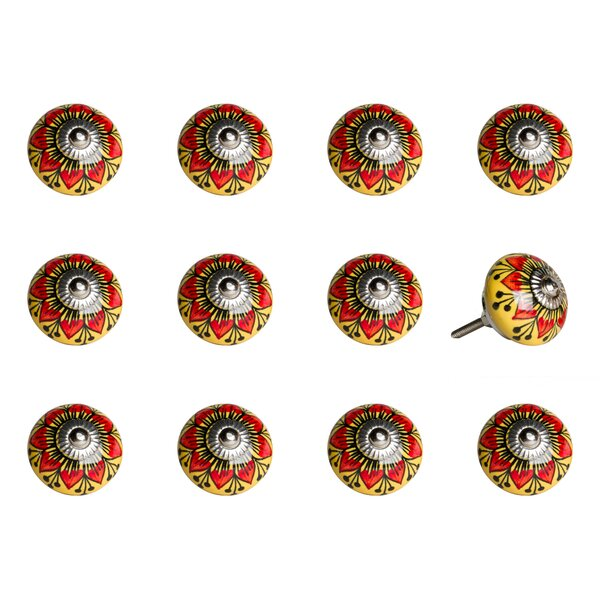 Handpainted Vintage Ceramic Round Knob (Set of 12) by Taj Hotel