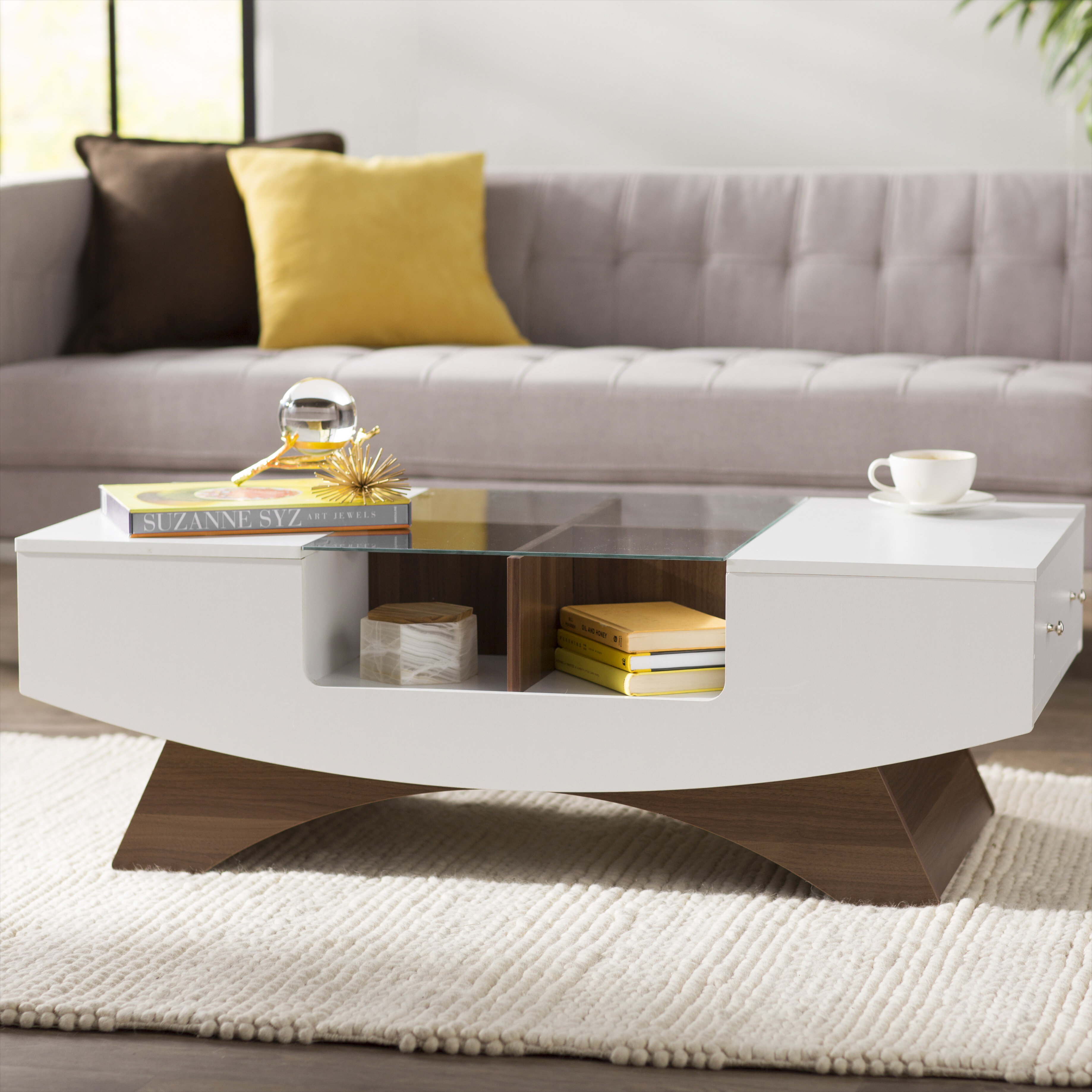 Picture of: Wade Logan Madilynn Trestle Coffee Table With Storage Reviews
