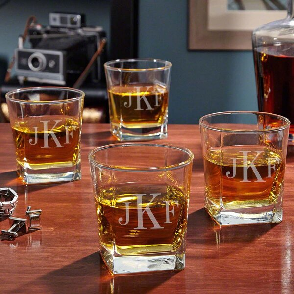 Rutherford Personalized 10 oz. Whiskey Glass (Set of 4) by Home Wet Bar