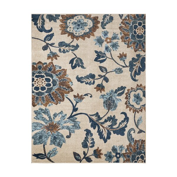Alvah Ivory/Blue Indoor/Outdoor Area Rug by Red Barrel Studio