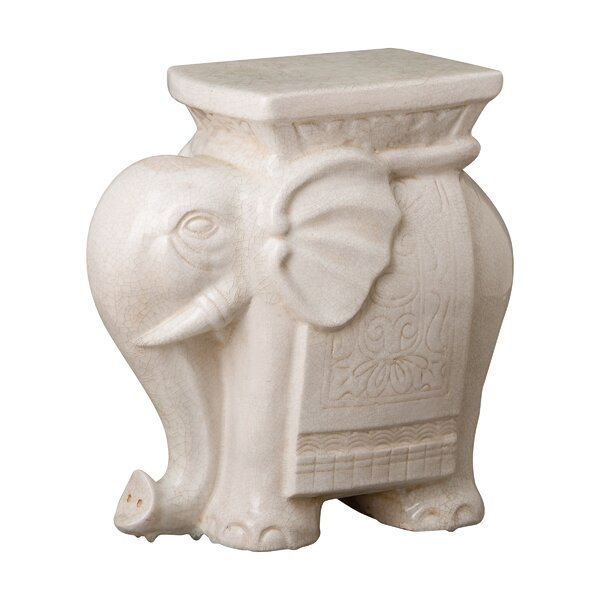 Bromwich Elephant Crackle Garden Stool by World Menagerie