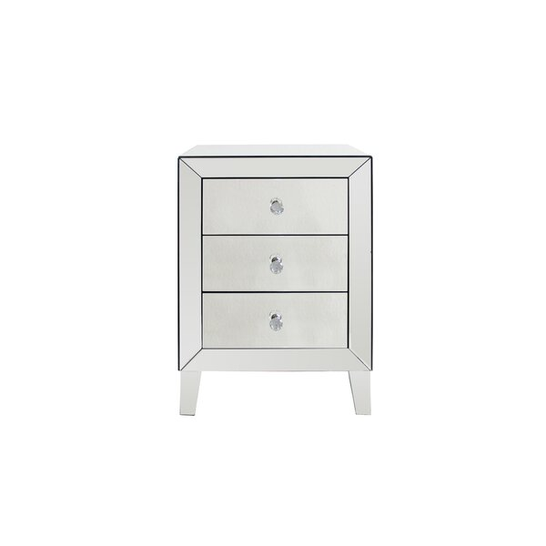 Mccarter Mirrored 3 Drawer Nightstand (Set of 2) by House of Hampton