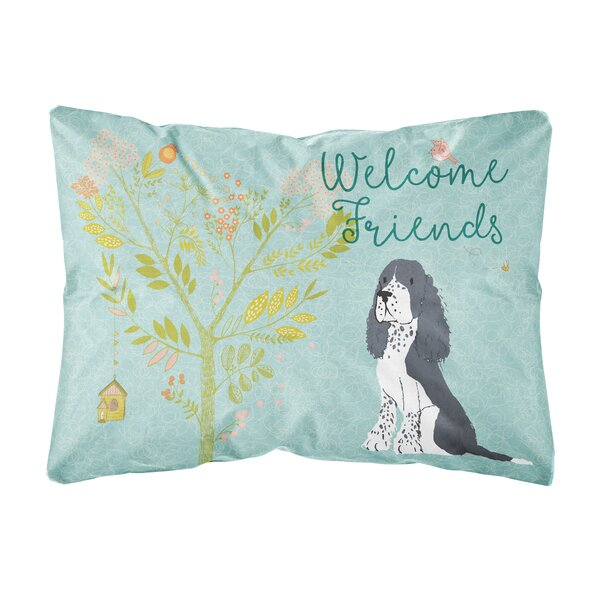 Sayer Welcome Friends Springer Spaniel Indoor/Outdoor Throw Pillow by Winston Porter