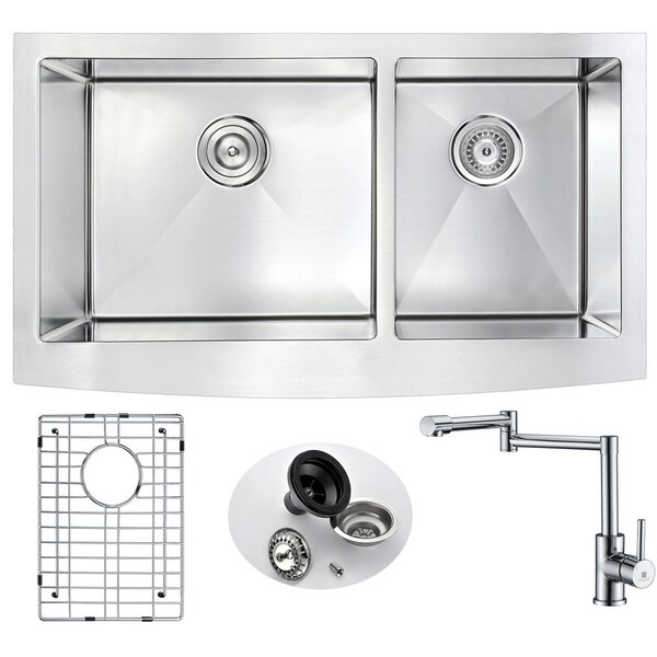 Elysian 32.88 L x 20.75 W Double Bowl Farmhouse Kitchen Sink with Faucet by ANZZI