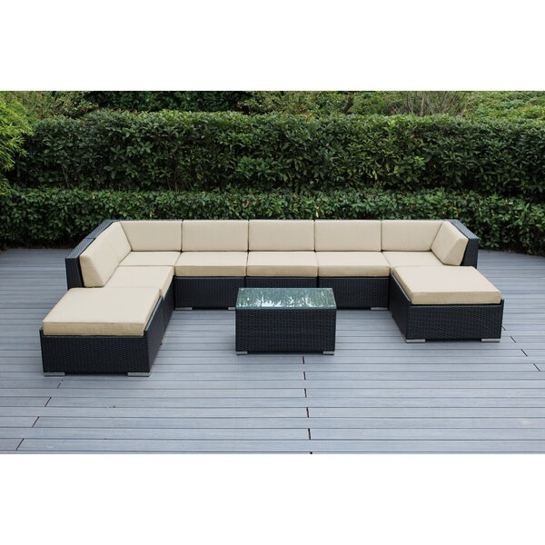 Etude 9 Piece Rattan Sunbrella Sectional Seating Group with Cushions by Wrought Studio
