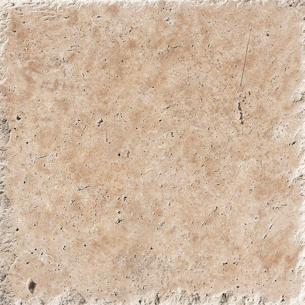 18 x 18 Travertine Field Tile in Light Walnut Chiseled Brushed by Parvatile