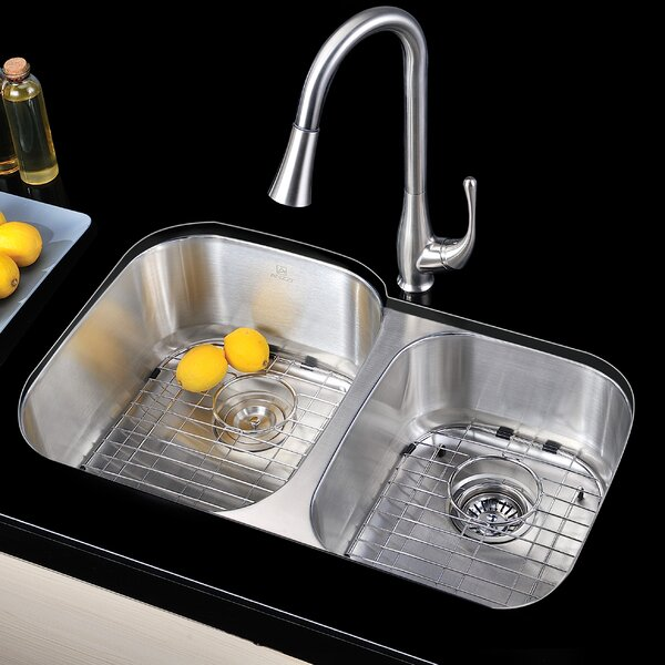 Moore 32 L x 20.75 W Double Bowl Undermount Kitchen Sink with Drain Assembly by ANZZI