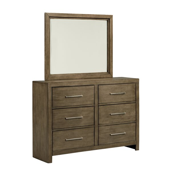 Lipscomb 6 Drawer Double Dresser with Mirror by Gracie Oaks