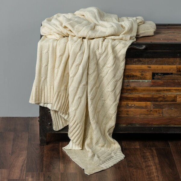 Chandee  Cable Knit Cotton Throw by Wildon Home ®