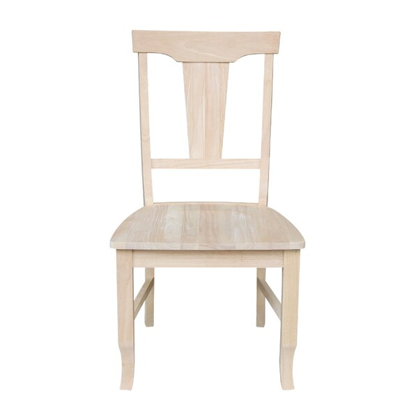 Toby Solid Wood Slat Back Side Chair in Unfinished (Set of 2) by August Grove August Grove