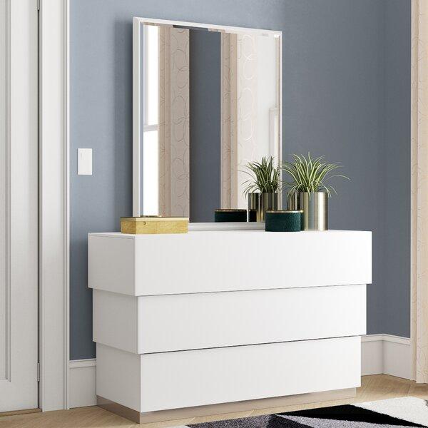 Langridge 3 Drawer Dresser with Mirror by Wade Logan