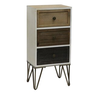 Selma Wood and Metal 3 Drawer Accent Chest