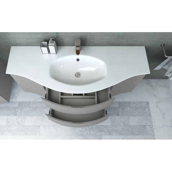 Ragnhild Integrated U-Shaped Drop-In Bathroom Sink with Overflow