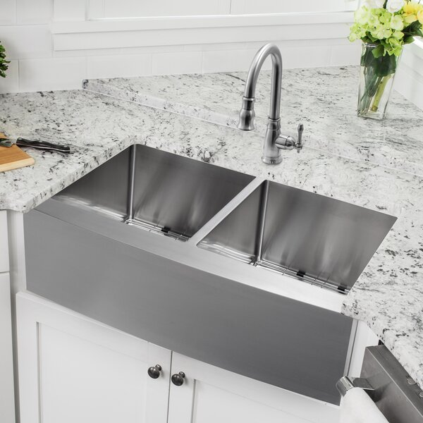 32.88 L x 20.75 W Apron Front 50/50 Undermount Stainless Steel Kitchen Sink with Faucet by Soleil