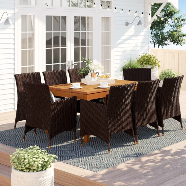 Brighton Traditional 9 Piece Dining Set with Cushions by Sol 72 Outdoor