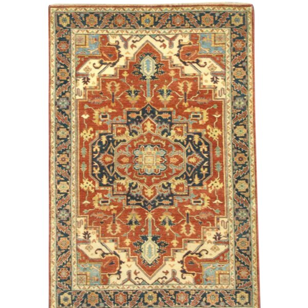 Farahan Hand-Knotted Wool Rust/Navy Area Rug by Pasargad NY