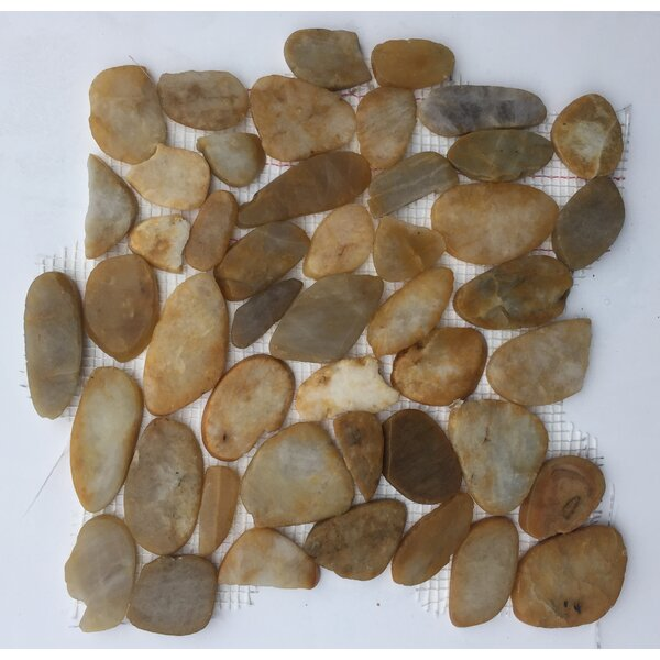 Flat River Rock Random Sized Natural Stone Mosaic Tile in Gold by FuStone