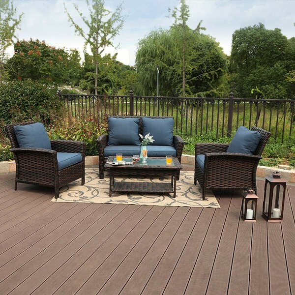 Stiltner 4 Piece Rattan Sofa Seating Group with Cushions by Charlton Home