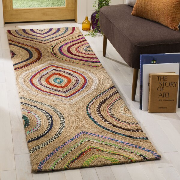 Abhay Boho Hand Woven Beige/Pink Area Rug by Bungalow Rose