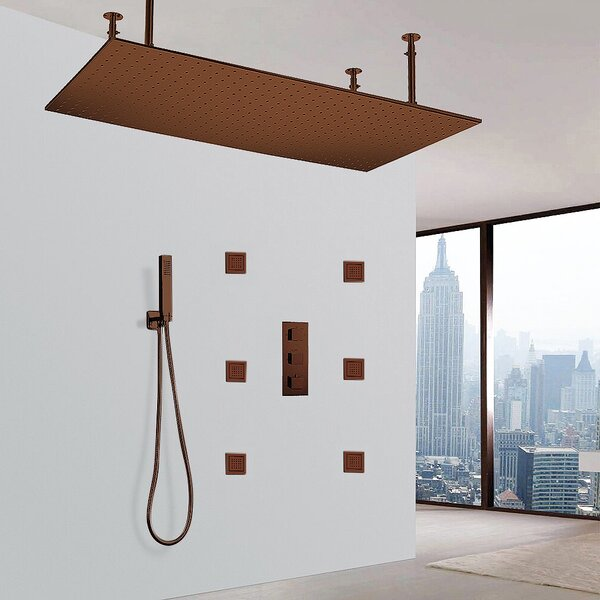 Martinique Solid Brass LED Rain Volume Control Complete Shower System with Rough-in Valve by FontanaShowers FontanaShowers