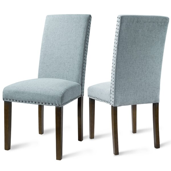 Monza Upholstered Wingback Parsons Chair in Blue by Red Barrel Studio Red Barrel Studio