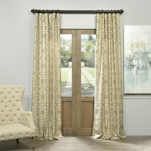 Luisa Geometric Faux Silk Jacquard Rod Pocket Single Curtain Panel