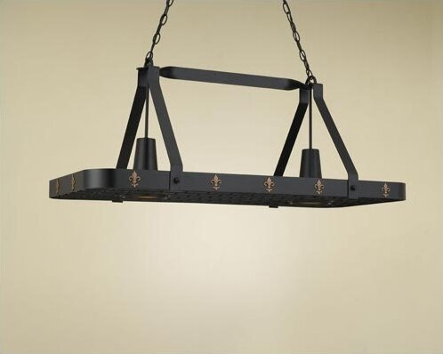 Fleur de Lis Large Rectangular Pot Rack with 2 Lights by Hi-Lite