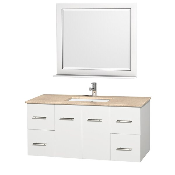 Centra 48 Single White Bathroom Vanity Set with Mirror by Wyndham Collection
