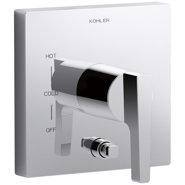 Honesty Valve Trim with Push-Button Diverter and Lever Handle For Rite-Temp Pressure-Balancing Valve, Requires Valve by Kohler