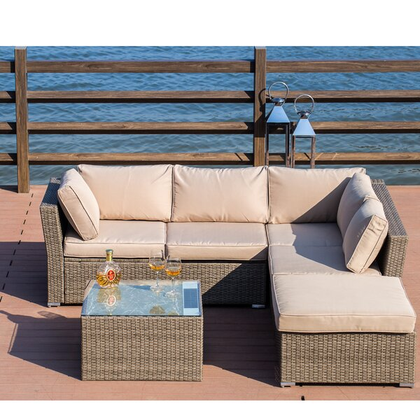 Amesbury 4 Piece Rattan Sectional Seating Group with Cushions by Mercury Row