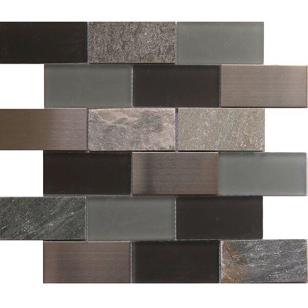 Tetris Granada 2 x 4 Glass/Stone Mosaic Tile in Black/Gray by Matrix Stone USA