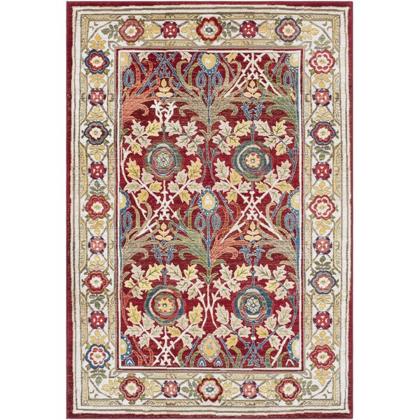 Arbouet Floral Cream/Red Oriental Area Rug by Charlton Home