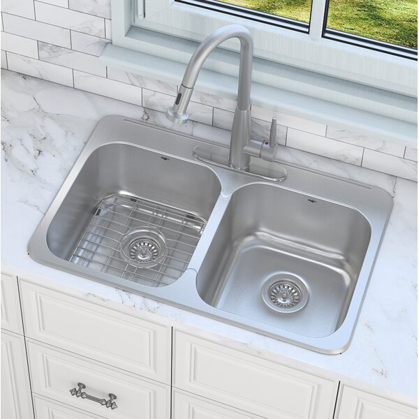 Capri Series 32 L x 21 W Double Basin Drop-In Kitchen Sink with Faucet by Ancona